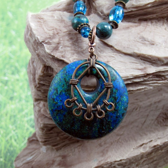 Bisbee Blues Turquoise and Chyrsocolla Necklace on Sale