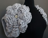 Big Flowers Shrug in Light Grey Color Handmade Ready to Ship