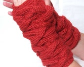 Fingerless Gloves with cables in Paprika color Ready to ship