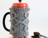 French Press Cozy, Coffee Cozy, Tea Cozy Heather Gray/Grey Color Ready to Ship