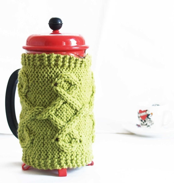 French Press Cozy, Coffee Cozy, Tea Cozy Apple Green Color Ready to Ship