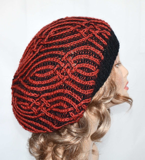Slouchy Knit Hat  Slouchy Beanie in Black and Paprika Color