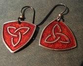 Small Triangle Celtic Knotwork Enamel Earrings