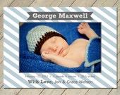 Custom Photo Birth Announcement - Preppy Banner (Boy)