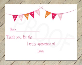 Printable Thank You Cards - Fill in the Blank