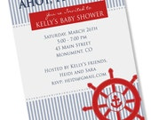 NAUTICAL SEERSUCKER Printable Party Invitation - Choose Anchor, Sailboat, or Ship Wheel Printing Available