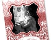 Formal Damask Printable Holiday Day Photo Card