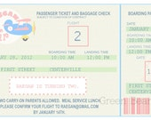 AIRPLANE TICKET Printable Party Invitation Printing Available