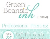 75 Professionally Printed 5x7 Flat Postcards (Plain, Pearl or Linen Finish) with Envelopes