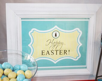 CHOCOLATE EASTER BUNNY Printable Party Decor Package