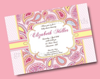 PINK PAISLEY Printable Party Invitation Printing Available