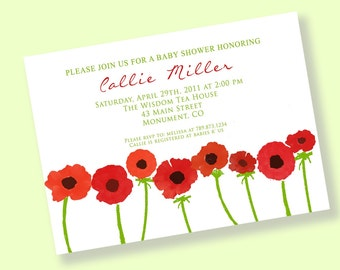 RED POPPIES Printable Party Invitation Printing Available