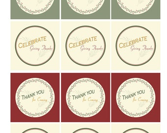 TRADITIONAL HOLIDAY Printable Cupcake Toppers - Thanksgiving or Christmas