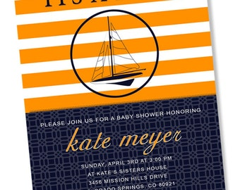 PREPPY NAUTICAL Printable Party Invitation - Navy and Orange Printing Available