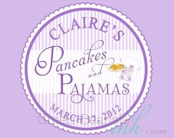 PANCAKES AND PAJAMAS Printable Cupcake Toppers