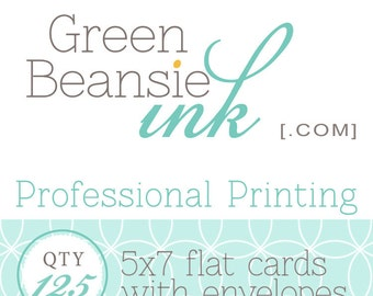 125 Professionally Printed 5x7 Flat Postcards (Plain, Pearl, Linen Finish or Recycled Paper) with Envelopes