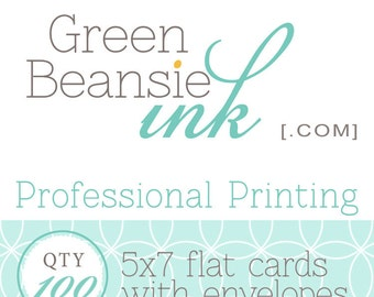 100 Professionally Printed 5x7 Flat Postcards (Plain, Pearl or Linen Finish) with Envelopes