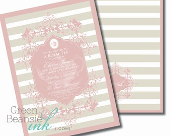 FORMAL TEA Printable Party Invitation - Pink and Gray Printing Available