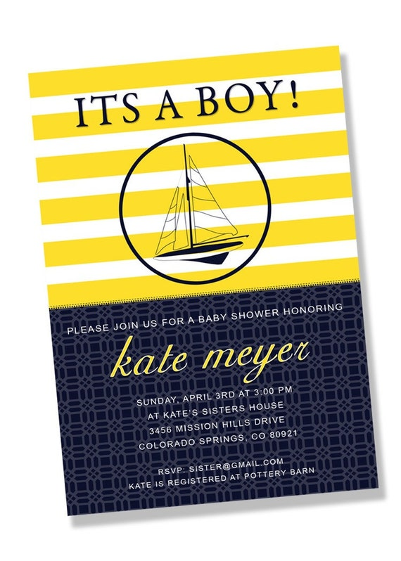 PREPPY NAUTICAL Printable Party Invitation - Navy and Yellow Printing Available