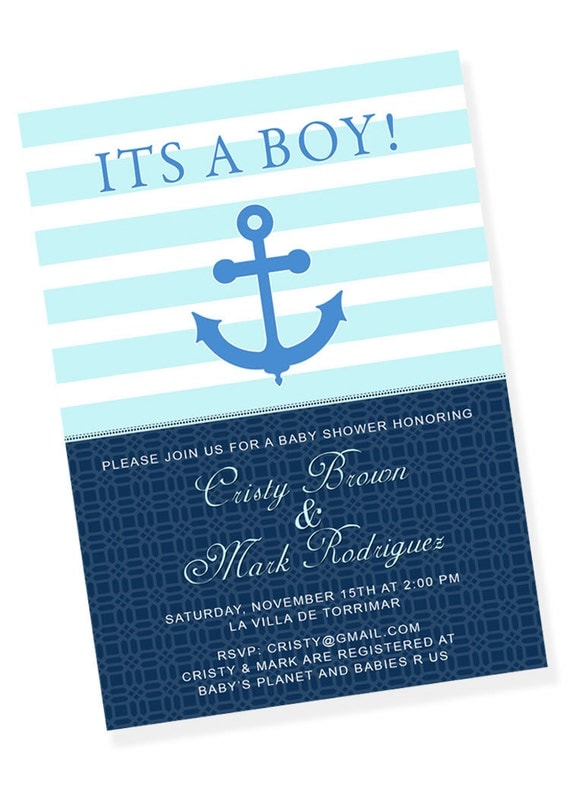 NAUTICAL ANCHOR Printable Party Invitation - Royal Blue and Turquoise
