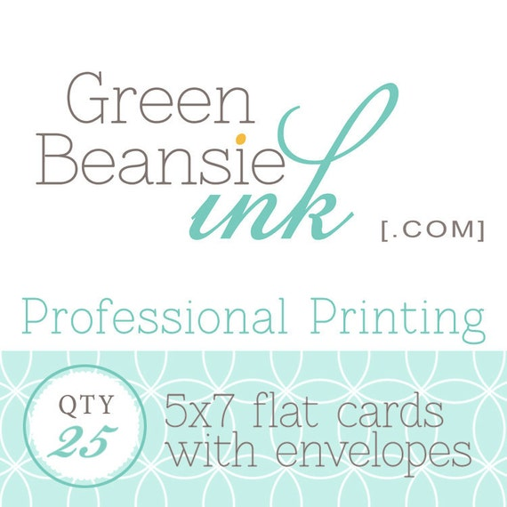25 Professionally Printed 5x7 Flat Postcards (Smooth, Pearl or Linen Finish) with Envelopes