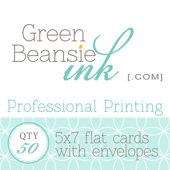 50 Professionally Printed 5x7 Flat Postcards (Plain, Pearl or Linen Finish) with Envelopes