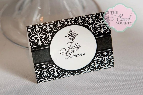 GLAM BLACK & WHITE Printable Tent Cards