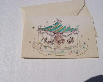 vintage embossed, gilt and painted greeting card