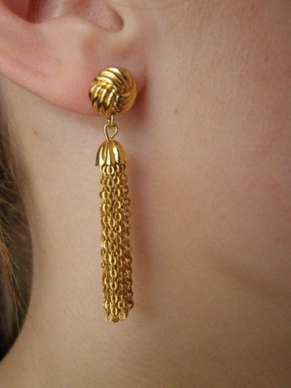 Goldtone drape chain earrings