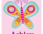 Personalized Butterfly  Art Print- kids wall art