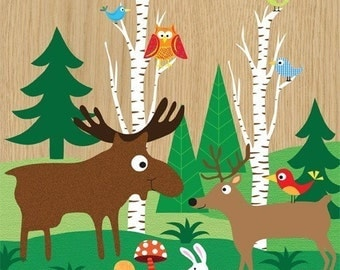 Woodland Friends print- kids wall art