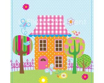 Kids Wall Art--Spring Lane house-Nursery Decor