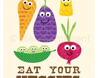 Kids Wall Art-Typography-Eat your Veggies Illustration-