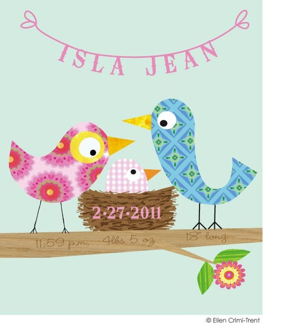 Kids Wall Art-Personalized - Baby Girl Bird -Nursery Decor