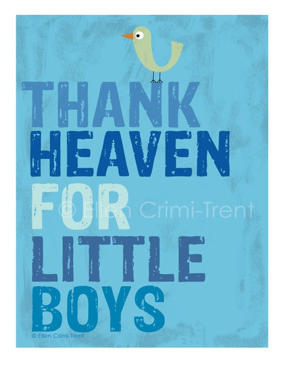Kids Wall Art-Typography-thank heaven for little boys print
