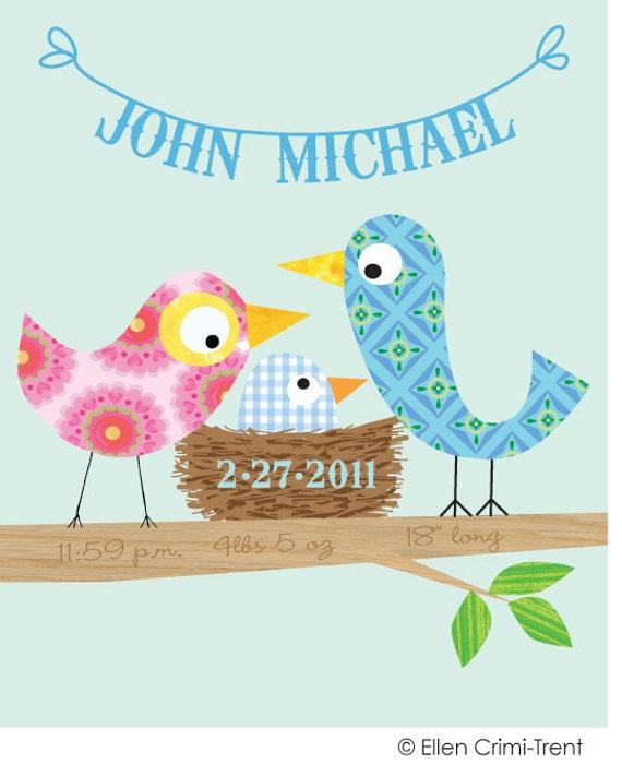 Personalized Baby Boy Bird  Art Print 11x14