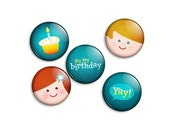 Retro Birthday Pin Collection - 5 x 1 inch button badges