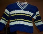 V Neck Striped Pullover, Size 5