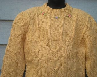 Flowered Open Cable Pullover, Size 5