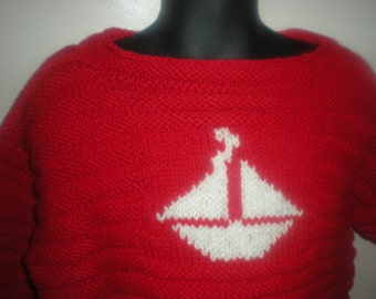 Hand Knitted Beautiful  red color Boat Sweater, 4T