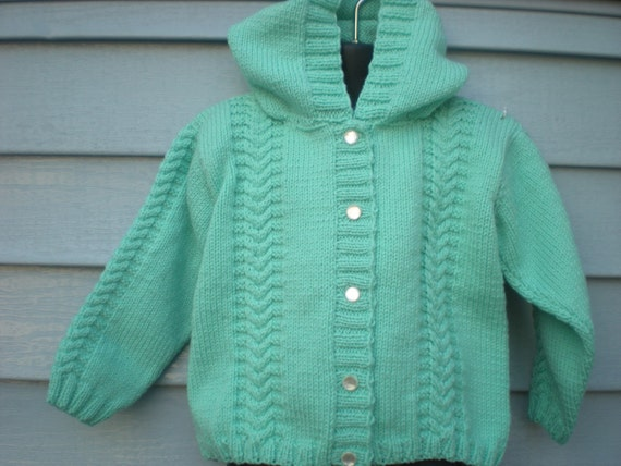 Hand knitted mint green Hooded Cabled sweater button Cardigan, Size 4T