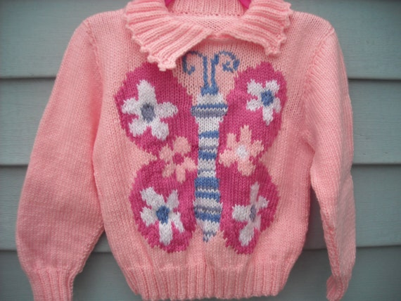 Hand Knit Beautiful Pink Butterfly Pullover, Picot edge collar,  Size 4