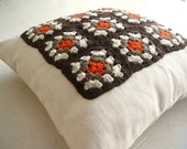 Afghan Pillow - Brown-Beige-Orange