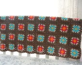 Afghan Blanket - Brown - Orange - Pink - Aqua - Beige - Green