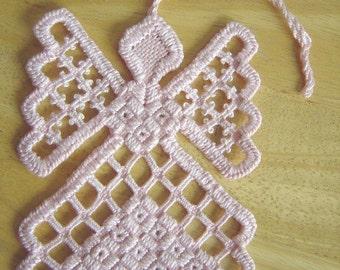 Pink Hardanger Angel