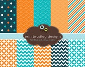 Digital Scrapbook Papers Personal and Commercial Use Teal Blue and Orange Medley