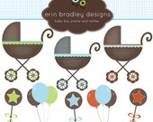 Baby Stroller Clipart Clip Art Personal and Commercial Use Boys Rattles Balloons Digital Designs