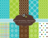Digital Scrapbook Papers Personal and Commercial Use Blue Green and Brown Printable Digital Papers INSTANT DOWNLOAD