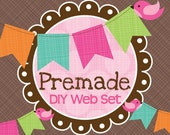 Premade DIY Web Graphics Set Birds and Bunting