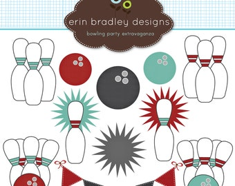 Bowling Clipart Clip Art Personal & Commercial Use
